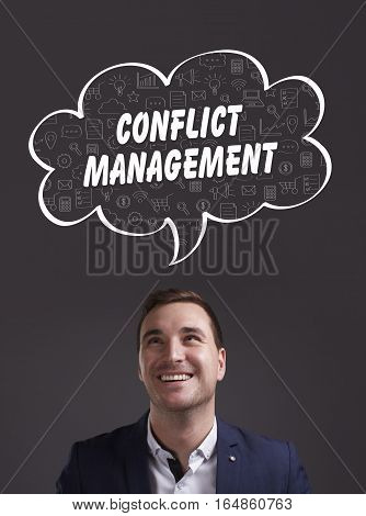 Business, Technology, Internet And Marketing. Young Businessman Thinking About: Conflict Management