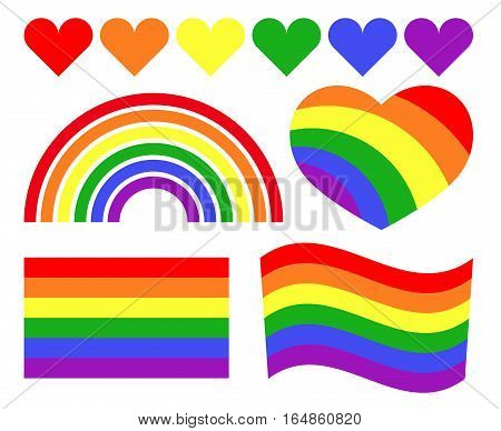 Vector gay LGBT rainbow symbols. Homosexual pride banner icon illustration
