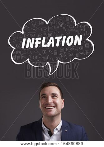 Business, Technology, Internet And Marketing. Young Businessman Thinking About: Inflation