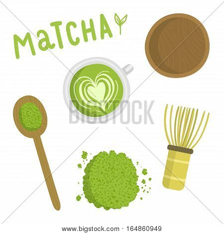 Matcha tea set. Isolated object. Vector hand drawn illustration on white background.