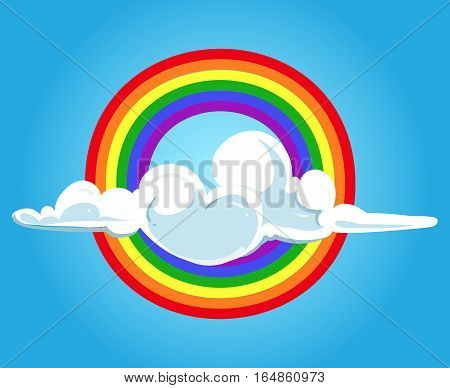 Circle rainbow and clouds blue sky. Nature bright colorful background. Vector illustration
