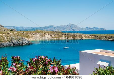 View from above to Saint Pauls Bay from the Acropolis. Lindos, Rhodes, Greece