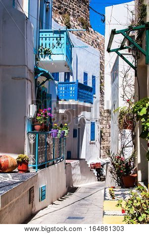 Colorful traditional street in Lindos, Crete, Greece