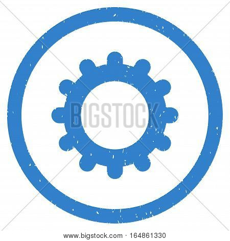 Gear rubber seal stamp watermark. Icon vector symbol with grunge design and corrosion texture. Scratched cobalt ink emblem on a white background.
