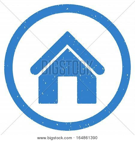 Home rubber seal stamp watermark. Icon vector symbol with grunge design and dust texture. Scratched cobalt ink emblem on a white background.