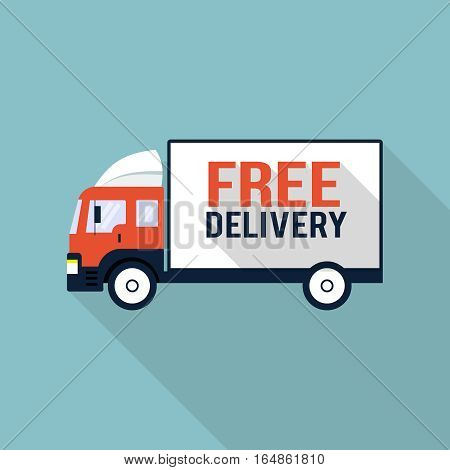 Free delivery truck, design element for mobile and web applications, eps 10