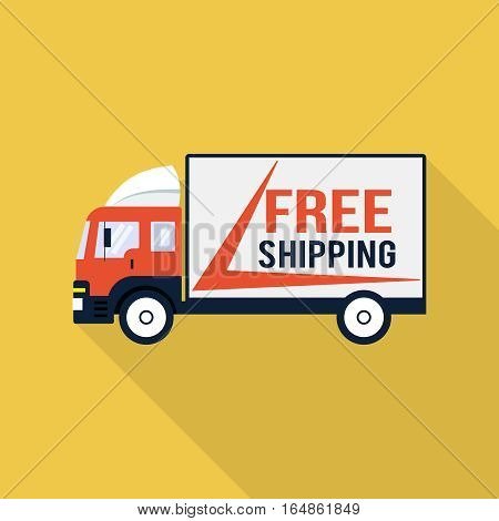 Free shipping truck, design element for mobile and web applications, eps 10