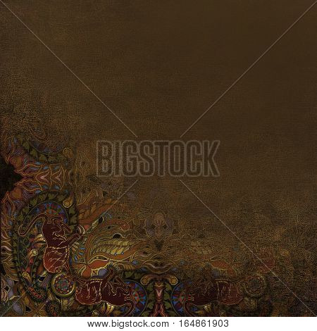 colored floral pattern granular background, stone imitation brown
