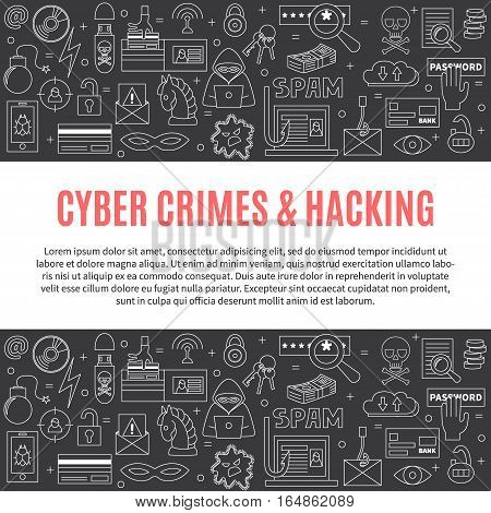 Hacking and cyber crime - horizontal vector template with icons of gadgets and hacker's activities, title and place for your text. Linear style. For web and paper ads. Computer security illustration.
