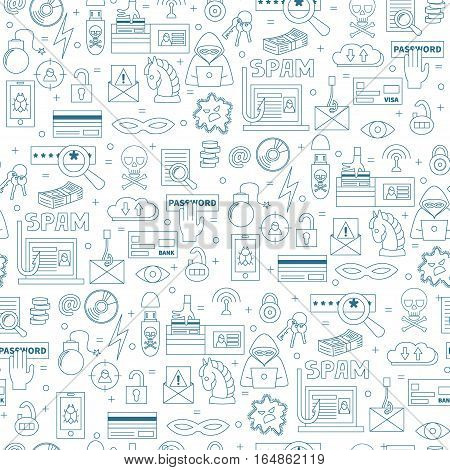 Hacking and cyber crime vector seamless pattern with icons of gadgets and  hacker's activities. Linear style. Blue icons on white isolated background. Could be used as wallpaper, print or fabric.