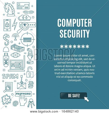 Hacking and cyber crime - vertical vector template with icons of gadgets and hacker's activities, title and place for your text. Linear style. For web and paper ads. Hacker attack illustration.