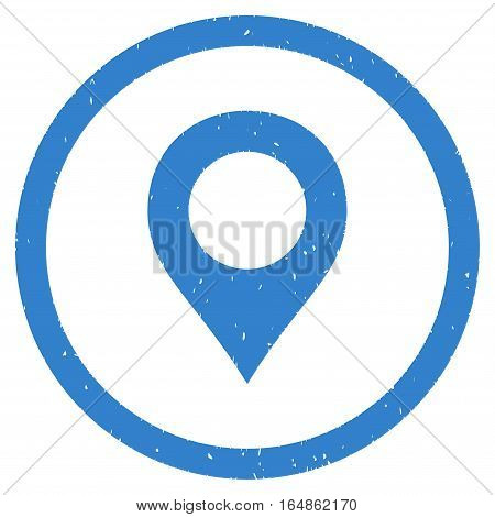 Map Marker rubber seal stamp watermark. Icon vector symbol with grunge design and dust texture. Scratched cobalt ink emblem on a white background.