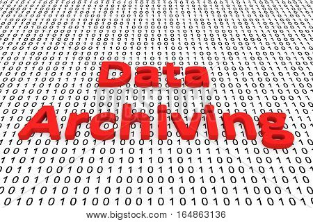 data archiving in the form of binary code, 3D illustration