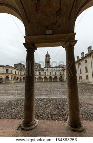 MANTUA, ITALY - MAY 2, 2016: Palazzo Ducale on Piazza Castello in Mantua - Italy