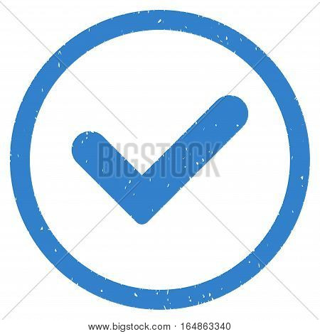 Yes rubber seal stamp watermark. Icon vector symbol with grunge design and corrosion texture. Scratched cobalt ink emblem on a white background.