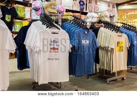 Souvenir Dead Sea T-shirts For Sale At Gift Shop