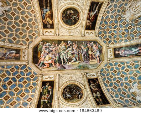 MANTUA ITALY - MAY 2 2016: Palazzo Te in Mantua is a major tourist attraction. The ceiling frescoes are the most remarkable feature if the palace built in the mannerist architectural style 1524-1534 for Federico II Gonzaga Marquess of Mantua. Italy