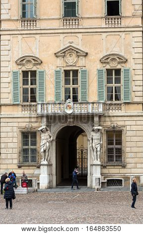 MANTUA ITALY - MAY 2 2016: Statue of Hercules at the entrance to the 18th century Palazzo Vescovile (Bishops Palace) in the historical center of Mantua Italy