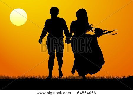 Silhouette of a young couple at sunset. Vector illustration