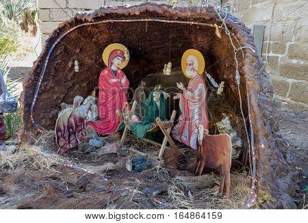 Nativity Scene At The Monastery Of St Gerasimus. Israel