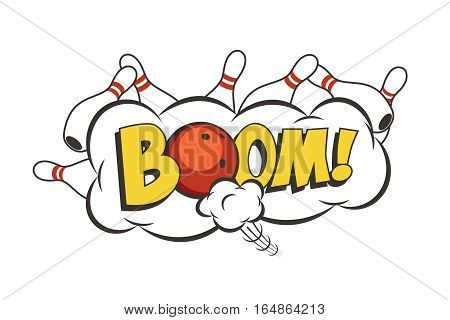 Vector cartoon bowling strike illustration. Moving red bowling ball and white skittles.