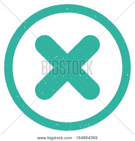Cancel rubber seal stamp watermark. Icon vector symbol with grunge design and corrosion texture. Scratched cyan ink emblem on a white background.
