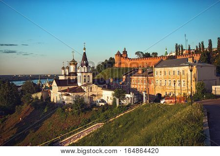 NIZHNY NOVGOROD, RUSSIA - June 1, 2016: View of Church of the Holy Prophet Ilya and Kremlin in Nizhny Novgorod at sunset time