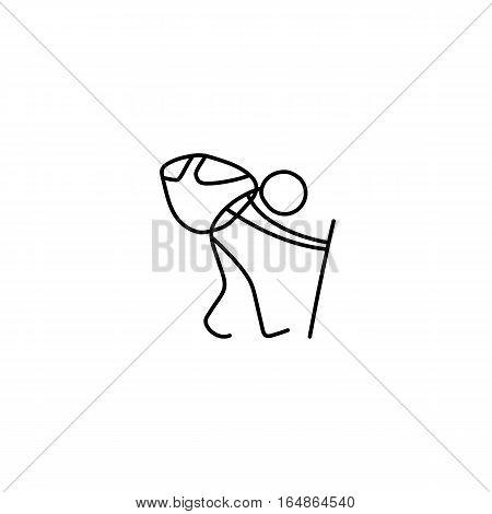 Tourist backpacker man hiking stick figure vector