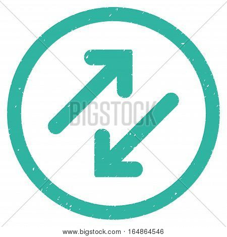Diagonal Flipping Arrows rubber seal stamp watermark. Icon vector symbol with grunge design and corrosion texture. Scratched cyan ink sticker on a white background.