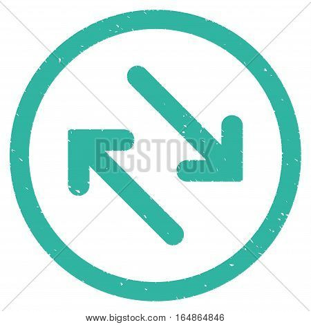 Flip Diagonally rubber seal stamp watermark. Icon vector symbol with grunge design and unclean texture. Scratched cyan ink sticker on a white background.
