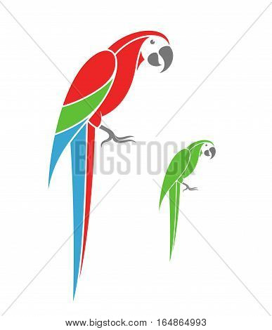 Macaw parrot and green parrot on white background. (EPS)