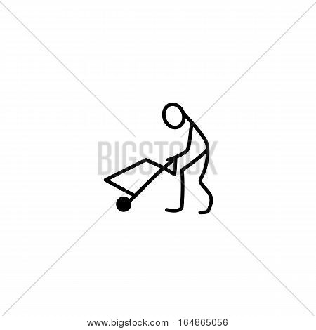 Cartoon icon of sketch stick figure carrying a wagon vector in cute miniature scenes.