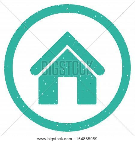 Home rubber seal stamp watermark. Icon vector symbol with grunge design and corrosion texture. Scratched cyan ink sticker on a white background.