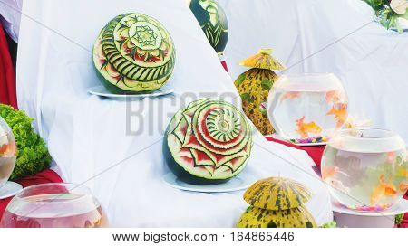 Beautiful watermelon carvings on exhibition decoration handmade