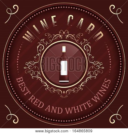 Wine card vector template with ornate vintage elements and a bottle of wine.