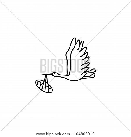 Flying stork carrying a new-born baby vector icon