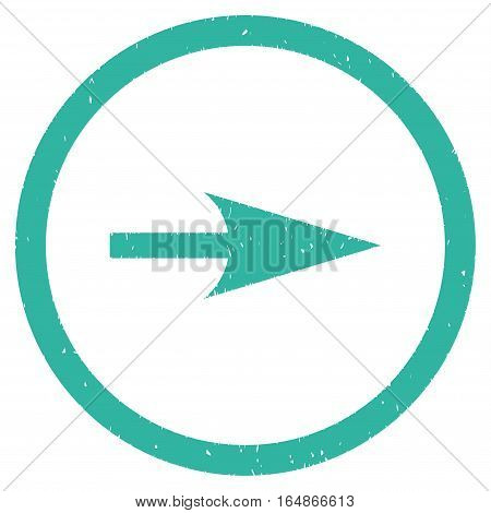 Sharp Right Arrow rubber seal stamp watermark. Icon vector symbol with grunge design and corrosion texture. Scratched cyan ink sticker on a white background.