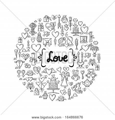Cute decorative cover with hand drawn isolated symbols of Valentine's Day on white background. Illustration on the theme of love feelings relationships wedding. Vector background for use in design
