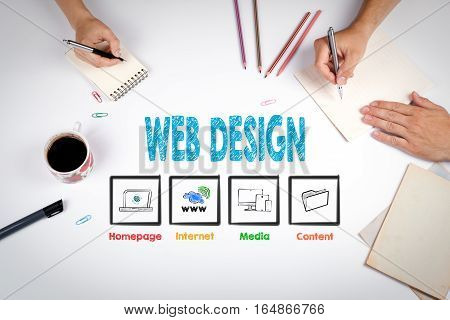 Web Design. The meeting at the white office table.