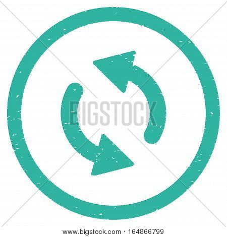 Update Arrows rubber seal stamp watermark. Icon vector symbol with grunge design and corrosion texture. Scratched cyan ink sticker on a white background.