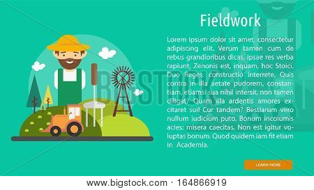Fieldwork Conceptual Banner Great flat illustration concept icon and use for industrial, agriculture, business, farm and much more.