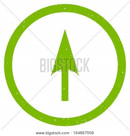 Arrow Axis Y rubber seal stamp watermark. Icon vector symbol with grunge design and dust texture. Scratched eco green ink sign on a white background.