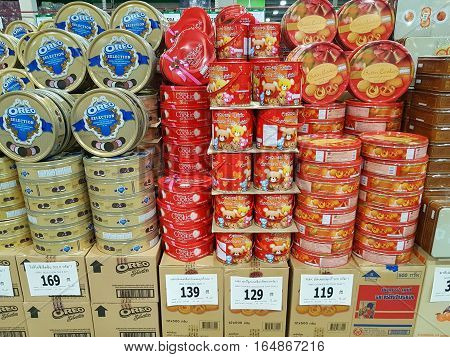 CHIANG RAI THAILAND - NOVEMBER 29 : various brand of cookies in packaging for sale on supermarket stand or shelf on November 29 2016 in Chiang rai Thailand.