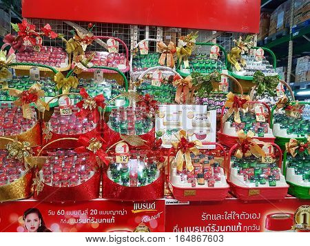 CHIANG RAI THAILAND - NOVEMBER 29 : various brand of products for New Year gift in packaging for sale on supermarket stand or shelf on November 29 2016 in Chiang rai Thailand.