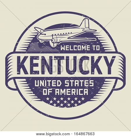Grunge rubber stamp or tag with airplane and text Welcome to Kentucky United States of America vector illustration