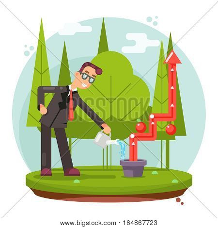 Infographic Growth and Cultivate Success Businessman Watering Plant Flat Design Vector illustration