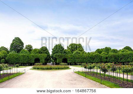 VIENNA, AUSTRIA - MAY 15, 2016: Green labyrinth at schonbrunn garden, the maze at schloss palace