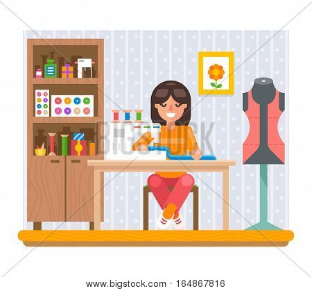 Sewing Hobby Work Home Craft Flat Design Vector Illustration