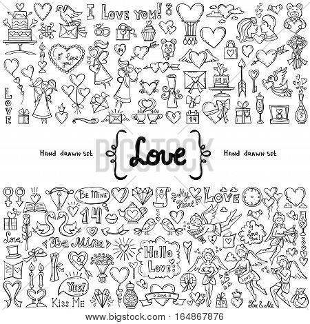 Vector set with hand drawn isolated doodles on white background on the theme of love feelings relationships. Symbols of Valentine's Day. Wedding. Sketches for use in design