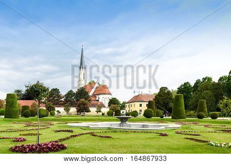 VIENNA, AUSTRIA - MAY 15, 2016: Catholic parish church maria hietzing near schonbrunn palace at the first turkish siege of the city